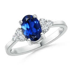 Solitaire Lab Created Sapphire and Diamond Promise Ring