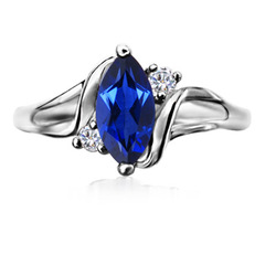 Marquise Lab Created Blue Sapphire Twisted Shank Ring