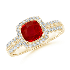 Vintage Cushion Ruby Halo Ring with Diamond Halo
