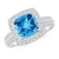 Vintage Cushion Swiss Blue Topaz Halo Ring with Diamond Halo