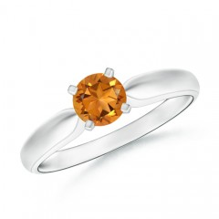 Tapered Shank Citrine Solitaire Ring with Four Prong