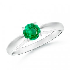 Tapered Shank Emerald Solitaire Ring with Four Prong