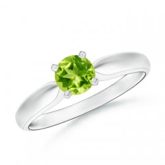Tapered Shank Peridot Solitaire Ring with Four Prong