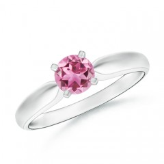 Tapered Shank Pink Tourmaline Solitaire Ring with Four Prong