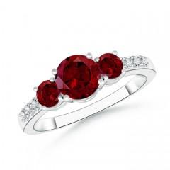 Three Stone Round Garnet Ring with Diamond Accents