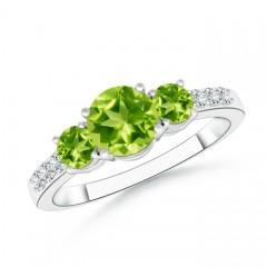 Three Stone Round Peridot Ring with Diamond Accents