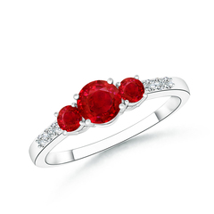 Three Stone Round Ruby Ring with Diamond Accents