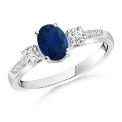 Classic Oval Blue Sapphire and Diamond Three Stone Ring