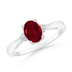 Tapered Shank Garnet Solitaire Ring with Diamond Accents