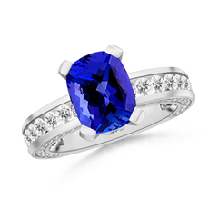 Cushion-Cut Tanzanite Ring with Channel-Set Diamond Accents