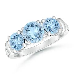Vintage Style Three Stone Aquamarine Wedding Ring