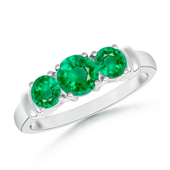 Vintage Style Three Stone Emerald Wedding Ring