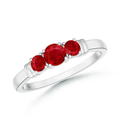 Vintage Style Three Stone Ruby Wedding Ring