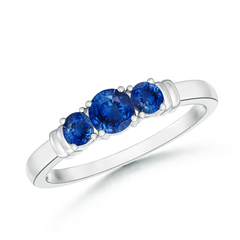 Vintage Style Three Stone Sapphire Wedding Ring