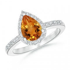 Pear Shaped Citrine Ring with Diamond Halo