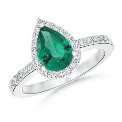 Classic Emerald and Diamond Halo Ring (GIA Certified Emerald)
