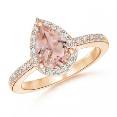 Pear Shaped Morganite Ring with Diamond Halo