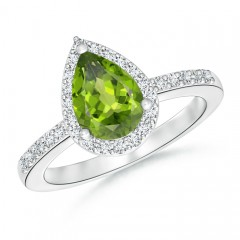Pear Shaped Peridot Ring with Diamond Halo