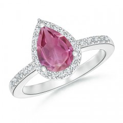 Pear Shaped Pink Tourmaline Ring with Diamond Halo