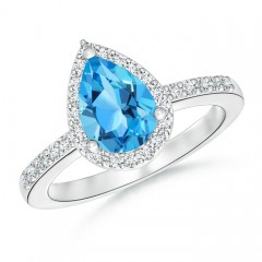 Pear Shaped Swiss Blue Topaz Ring with Diamond Halo
