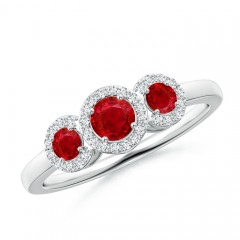 Three Stone Ruby Halo Ring With Diamond Border