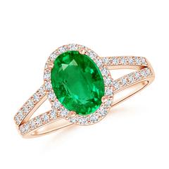 Split Shank Vintage Emerald Ring with Diamond Halo