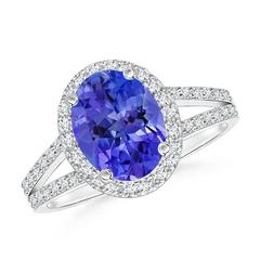 Split Shank Vintage Tanzanite Ring with Diamond Halo