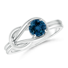 Solitaire London Blue Topaz Infinity Knot Ring