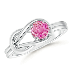 Natural Solitaire Pink Sapphire Infinity Knot Ring