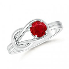 Natural Solitaire Ruby Infinity Knot Ring
