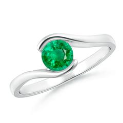 Half Bezel Solitaire Round Emerald Bypass Ring
