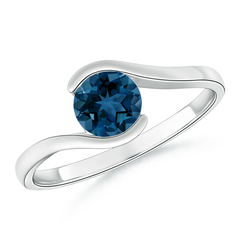 Half Bezel Solitaire Round London Blue Topaz Bypass Ring