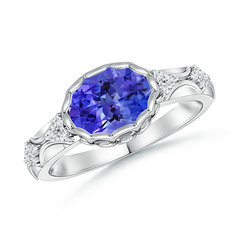 Oval Tanzanite Vintage Ring with Diamond Accents