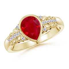 Pear Shaped Ruby Vintage Ring with Diamond Accents