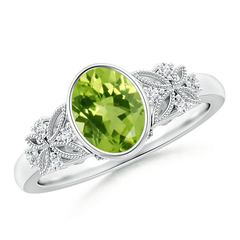 Bezel Set Vintage Oval Peridot Ring with Diamond Accents