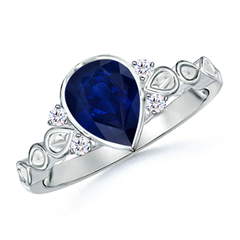 Bezel Set Vintage Pear Sapphire Ring with Diamond Accents