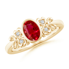 Vintage Oval Ruby Bezel Ring with Diamond Accents