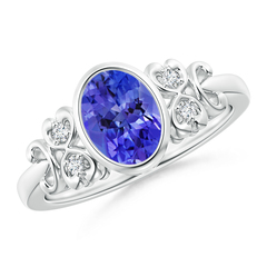 Vintage Oval Tanzanite Bezel Ring with Diamond Accents