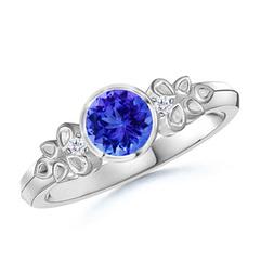Vintage Round Tanzanite Bezel Ring with Diamond Accents