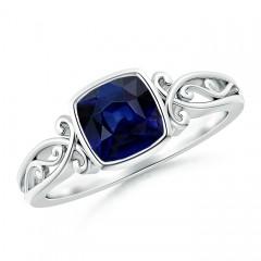 Bezel Set Cushion-Cut Sapphire Vintage Solitaire Ring