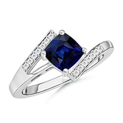 Solitaire Cushion-Cut Sapphire Bypass Ring with Diamond Accents