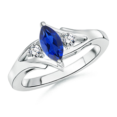 Split Shank Marquise Sapphire and Diamond 3-Stone Ring