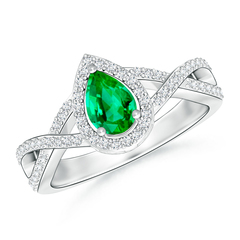 Twist Shank Pear Shaped Emerald Ring with Diamond Halo