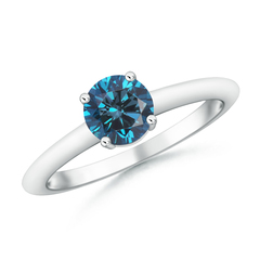 4 Prong Round Enhanced Blue Diamond Solitaire Engagement Ring