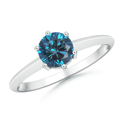 6 Prong Round Enhanced Blue Diamond Solitaire Engagement Ring