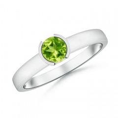 Classic Solitaire Half Bezel Peridot Engagement Ring