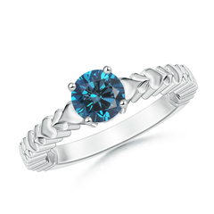 Round Enhanced Blue Diamond Solitaire Ring with Heart Carving
