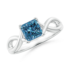 Princess Cut Solitaire Enhanced Blue Diamond Crossover Ring