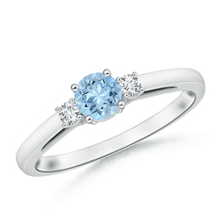 Round Aquamarine Past Present Future Engagement Ring