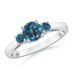 Round Enhanced Blue Diamond Past Present Future Engagement Ring